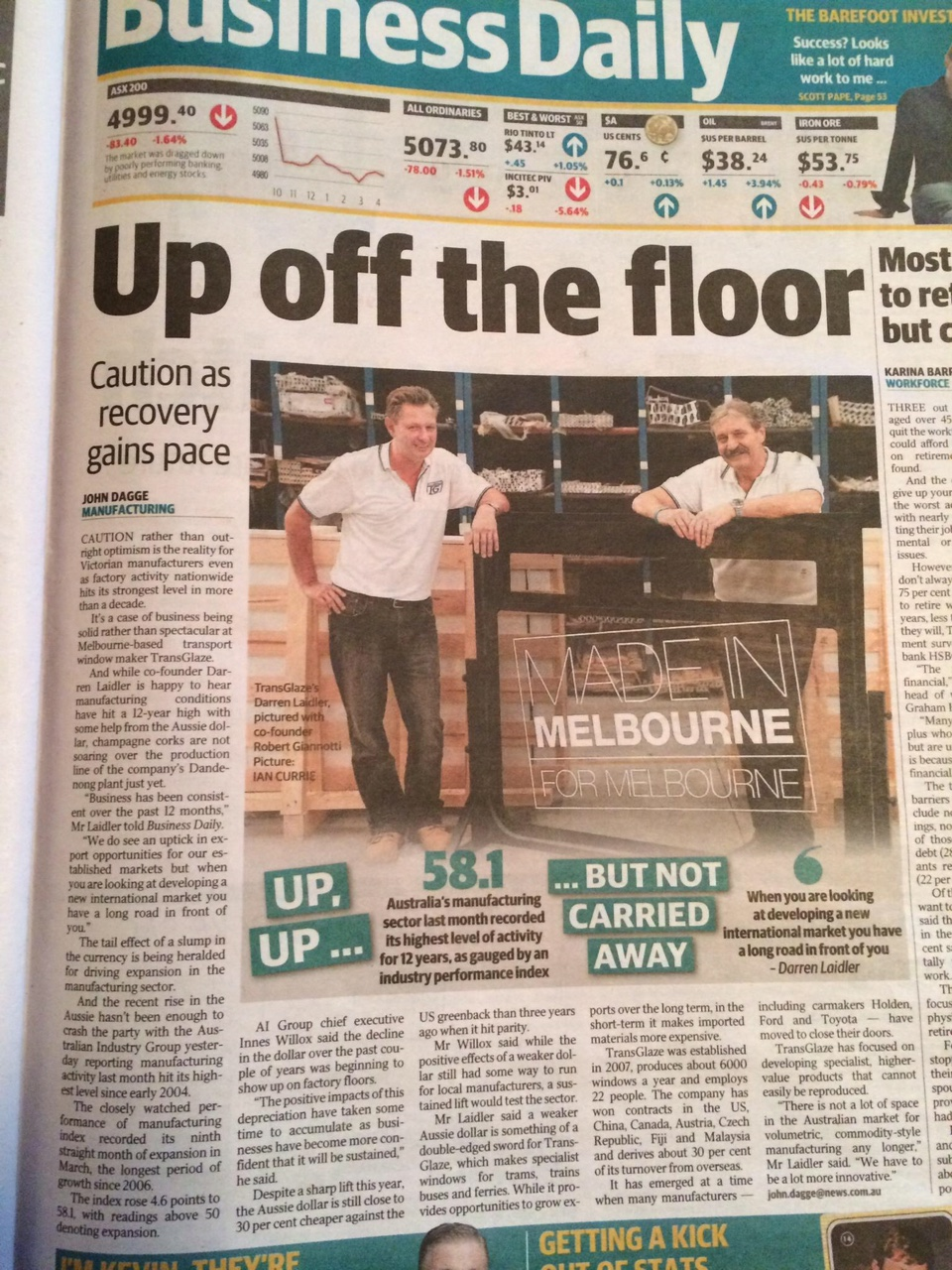 TransGlaze Herald Sun Business Feature